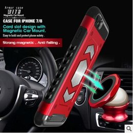 $enCountryForm.capitalKeyWord Canada - Magnetic Car Mount Dual Layer Hybrid Armor Phone Case Shockproof TPU PC Cases Cover with Card Slot For iPhone X 8 7 6 6S plus Samsung S9 New