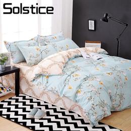 Ivory Linen Suit Canada - Solstice Home Textile Queen Twin Bed Linen Suit Girl Teen Adult Woman Bedding Set Flower Decorative Duvet Cover Sheet Pillowcase