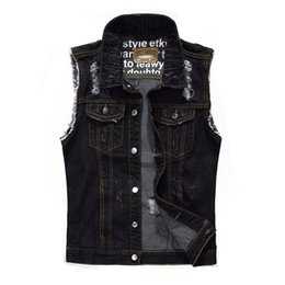 5ba5bf9e3ee9ae Mens Sleeveless Denim Jacket UK - Causal Mens Cotton Denim Vest Frayed Jeans  Waistcoats Sleeveless Jackets