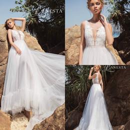 Discount line wedding dresses straps bling - Lanesta Wedding Dresses A Line Deep V Neck Backless Lace Applique Sash Sequins Bling Beach Plus Size Bridal Gowns Boho R