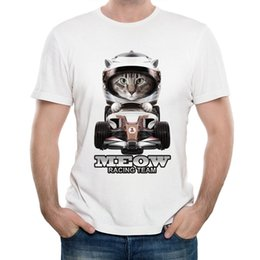 Wholesale 2017 MOTO GP campeon shirt Meow print T Shirt Men short sleeve funny cat T Shirt car lovers Tops white hipster cool Tee