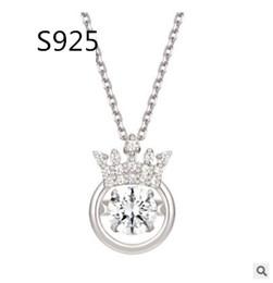 $enCountryForm.capitalKeyWord Australia - 2018 Hot Smart 925 Pure Silver Crown Dance Real Heartbeat Sense Of Pendant Woman Clavicle Chain Necklace Choker