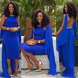 dress sequin cape blue Canada - Royal Blue Backless Prom Dresses with cape sexy african tea-length Mermaid Chiffon Jewel High Low cocktail Evening Gown with beaded