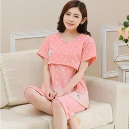 550f794cd0d69 Maternity Nursing Pajamas Print Summer Pregnant Clothes T Shirt + Shorts Short  Sleeve Breastfeeding Pajamas Sleepwear Set