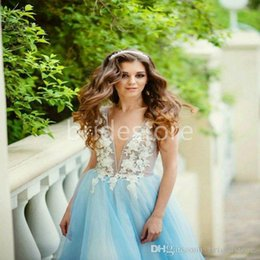$enCountryForm.capitalKeyWord Australia - Sexy Blue Deep V Neck Boho Country Wedding Dresses Drop Waist Beaded Handmade Floral Bohemian Tulle Bridal Dress Summer Beach Gowns 2019