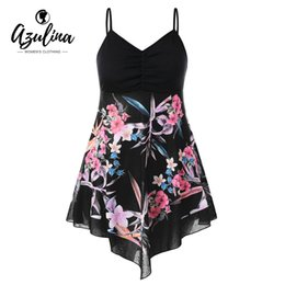 AZULINA Plus Size Floral Empire Waist Longline Top Summer Casual Spaghei  Strap Long Ladies Tops Big Size Women Clothing 2018 3d3865c857b3