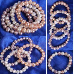 de37cb23e632 100% moda blanco   rosa 8-9mm natural de agua dulce irregular perla pulsera  con cuentas estiramiento pulsera elástica pulsera nupcial