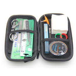 Diy Atomizer Coil Australia - E Cigarettes DIY Accessories Tool Bag for RDA RTA Atomizer Rebuilding Coil Jig Ceramic Tweezers Pliers Heating Wires Cotton Set Vape Ecig