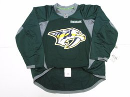 df5621ab4 Cheap custom NASHVILLE PREDATORS GREEN EDGE PRACTICE HOCKEY JERSEY stitch  add any number any name Mens Hockey Jersey XS-5XL