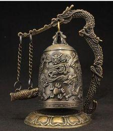 Brass dragon Bell online shopping - SUPERB VINTAGE DECORATED HANDWORK COPPER CARVED DRAGON WONDERFUL BELL STATUE
