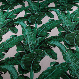 Wholesale printed fabric sheets resale online - 50 cm green palm banana leaf printed cotton tissu cotton poplin fabric for dress DIY Sewing kids Sheet patchwork tissu
