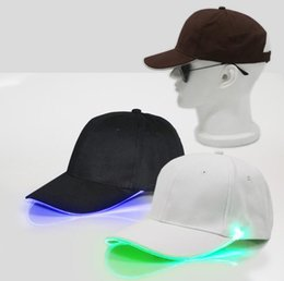 Baseball Hat Wholesalers Canada - New Arrive LED Light Hat Glow Hat Black Fabric For Adult Baseball Caps Luminous 7 Colors For Selection Adjustment Size Xmas Party