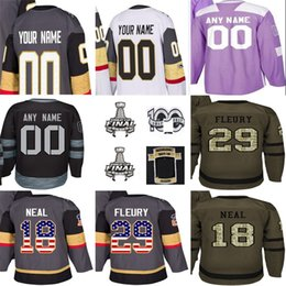 9acda184a 2018 Stanley Cup Final 100th Patch 29 Marc-Andre Fleury James Neal Custom  Inaugural 100th Men Youth Vegas Golden Knights Hockey Jerseys