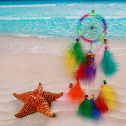 $enCountryForm.capitalKeyWord NZ - Colorful Handmade Dream Catcher Net with Feathers Wind Chimes Wall Hanging Hanging Decorations Dreamcatcher Craft Gift