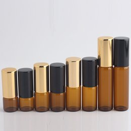 Wholesale 1ml ml ml ml m Amber Perfume Glass Roll on Bottle with Glass Metal Ball Brown Roller Essential Oil Vials