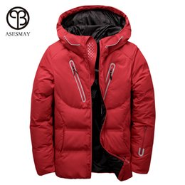 hats crosses UK - Asesmay luxury men winter jacket white duck down parka casual goose feather men's winter coat hood thick warm waterproof jackets
