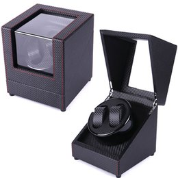 China Automatic watch winder wristwatc winding case black red sew japan motor watch cabinet 2 clock display rotate hour hand clean new supplier display case cabinet suppliers