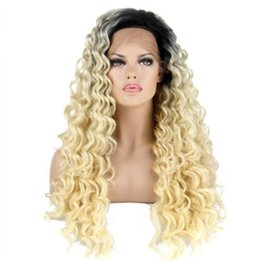 Heads Lace Wig Australia - 180% Density Long Curly Black Root Ombre Blonde Synthetic Lace Front Wig Two Tones Color Hair Wigs Heat Resistant for Women Full Head