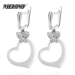 $enCountryForm.capitalKeyWord UK - 2018 Fashion Earrings Ceramic Hollow Geometry Earrings Bling Crystal Butterfly Lovely Heart Sweet Earrings for Women Gifts Jewel