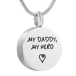 Custom Logo Pendants NZ - DJX9904 My Daddy My Hero Custom Logo Words Engraving Round Cremation Pendant Funeral Urn Ashes Holder Keepsake Jewelry for Dad