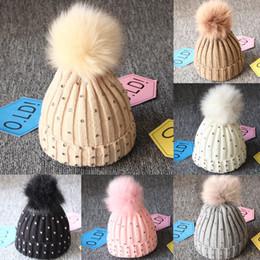 $enCountryForm.capitalKeyWord Australia - Girl Pom Pom Beanie Warm Knitted Bobble Kids Fur Pompom Hat Children Real Raccoon Fur Pompon Sequins Winter Hat Cap