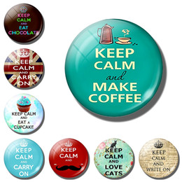 "Letter Board Wholesale NZ - ""Keep Calm"" Quote Fridge Magnet Glass Magnetic Refrigerator Stickers message board Cute Letter refrigerator magnets Home Decor"