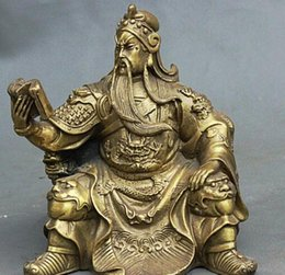 "Book Money Australia - 5"" Chinese Brass Carving Guan Gong Dragon Lion Guan Yu Hold Book Buddha Statue"