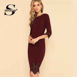 749aca39898 Dress laser cutting online shopping - Sheinside Burgundy Elegant Bodycon  Dress Women Knee Length Sleeve Scallop