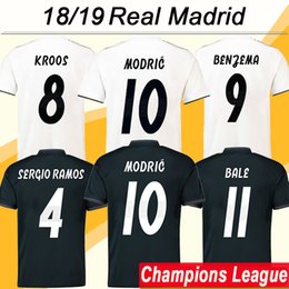 Discount real madrid green uniform - 18 19 Champions League MODRIC KROOS Soccer Jerseys 2018 19 Real Madrid RAMOS BENZEMA Football Shirts ISCO BALE Home Away