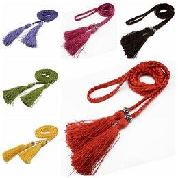 tassel chinese 2019 - Woven tassel belt Women belt dress knot decorated waist chain waist rope Chinese braided style Waist Belts Wholesale che