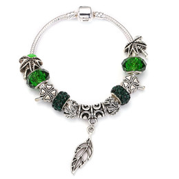 $enCountryForm.capitalKeyWord NZ - SPINNER Big Maple Leaves Dangle Charm Bracelet coconut tree Flower Crystal Ball fit Women DIY Pandora Bracelet Jewelry