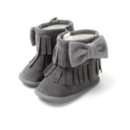 Fashion Toddler Baby Gilrs Bowknot Boots Infant Baby Girl Tassel Winter Warm  Fur Snow Boots Newborn Soft Sole Shoes Boot 0-18M cc231b388aff