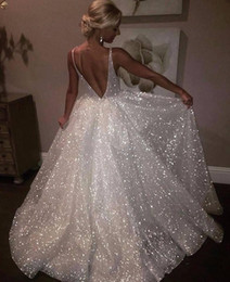Chinese  Sparkle Sequined White Long Evening Gowns 2018 Deep V Neck Sexy Low Back Long Prom Dress Cheap Pageant Special Occasion Gowns manufacturers