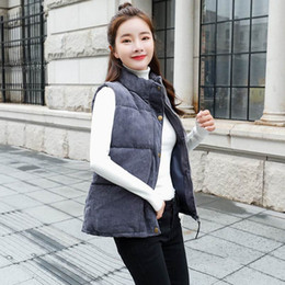 zipper vests NZ - 2018 Winter Women Mandarin Collar Vest Women's Sleeveless Jacket Down Cotton Padded Coat Vest Female Jacket Zipper with Pocket