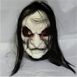 Back Hair Men Australia - Horror! Halloween Mask Long Hair Ghost Scary Mask Props Grudge Ghost Hedging Zombie Mask Realistic Silicone Masks Masquerade