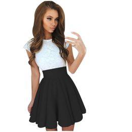 92543578a Vestido de fiesta de encaje para mujer de verano Mini vestido para mujer de  manga corta vestidos de patinador Estilo coreano Vestidos de fiesta Roupa  ...