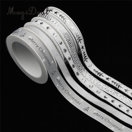 fabric ornaments for hair 2019 - 25 Meters Silver Grosgrain Fabric Ribbon Trim Embellishment for Xmas Christmas Gift Wrapping DIY Bow Hair Accessories Cr