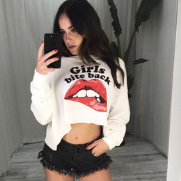 Wholesale loose t shirt crop top resale online - Women Long Sleeve Fleece T Shirts Girls Bite Back Red Lips Printed Pullover Street Style O Neck Autumn Sweatshirts Loose Causal Crop Tops