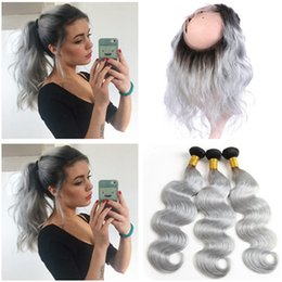 $enCountryForm.capitalKeyWord NZ - Body Wave #1B Grey Ombre Virgin Indian Human Hair Weave Bundles with 360 Lace Frontal Closure Pre Plucked Ombre Silver Grey 360 Frontals