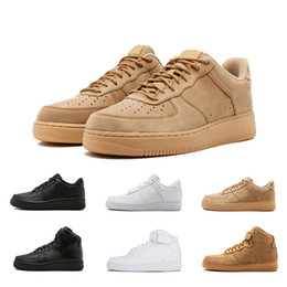 finest selection 590c2 27e0a Nike Air Force 1 one Nuevo descuento One 1 Dunk Flyline Running Shoes Hombre  Mujer Deportes Skateboarding Zapatos High Low Cut Blanco Negro Wheat  Trainers ...