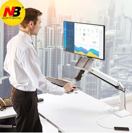Wholesale Desktop Sit Stand Workstation Long Arm Extension mm Ergonomic inch Monitor Holder with Keyboard Tray Gas Spring Arm