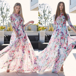 ae01934c994 Sexy Women Boho Floral Printed Dresses Long Maxi Dress Summer Beach Evening  Party Translucent Sundress