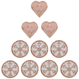 Rose Gold Snap Buttons NZ - 10pcs Lot newest Rose Gold Cross Heart 18mm Snaps Buttons Fit DIY Bracelets Necklaces For girl Charms Jewelry Mother's day gifts