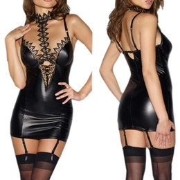 Cosplay Sex Costumes For Women NZ - Latex Erotic Lingerie Sexy Babydoll For Women PU Leather Lace Patchwork Role Play Cosplay Sexy Costumes Sex Lingerie Mini Dress D18110701
