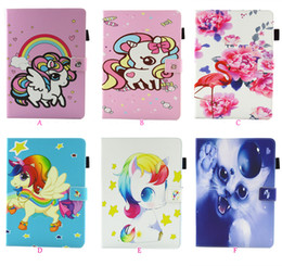 standing cartoon cat NZ - Flower Unicorn Cat Leather Case For Ipad Mini 1 2 3 4 ipad 2 3 4 Air Air2 5 6 Pro 10.5 9.7 2016 2017 2018 Wallet Cartoon Flip Cover Stand