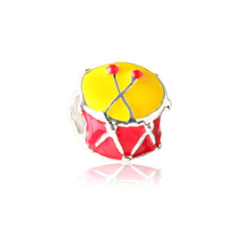 Necklace drum online shopping - Yellow And Red Enamel Drum Alloy Charm For Pandora Bracelet Snake Chain Necklace Fashion Jewelry Loose Bead New Arrival
