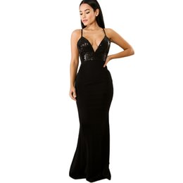 Women Sexy Sequined V Neck Backless Dress Elegant Sleeveless Formal Mermaid  Dress Bodycon Party Club Maxi Dress Black Burgundy 52957aea3817