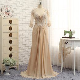 Discount pearl pink mother bride dresses - 2018 fengyudress Elegant Champagne Mother Of The Bride Dresses Long Sleeves Bead Lace A Line Formal Dress Backless Vesti