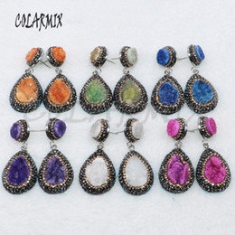 geode jewelry wholesale Canada - 5 Pairs geode druzy earrings drop shape earrings jewelry earrings mix colors wholesale jewelry 4881 C18111901