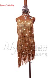 sequin fringe dance Australia - Latin Dance Competition Dress Performance Shoulder-straps Sexy Dress with Gold Sequined Fringe Women Ballroom Salsa Tango Dance Costume